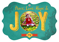 Hope And Joy Teal Ornate Holiday Holiday Ornaments - Front