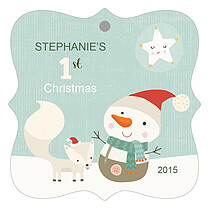 Snuggly Snowman Christmas Holiday Ornaments - Front