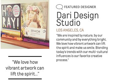 Featured Designer – Dari Design Studio. We love how vibrant artwork can lift the spirit and make us smile.