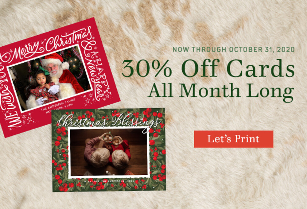 30% Off Cards - 10.20