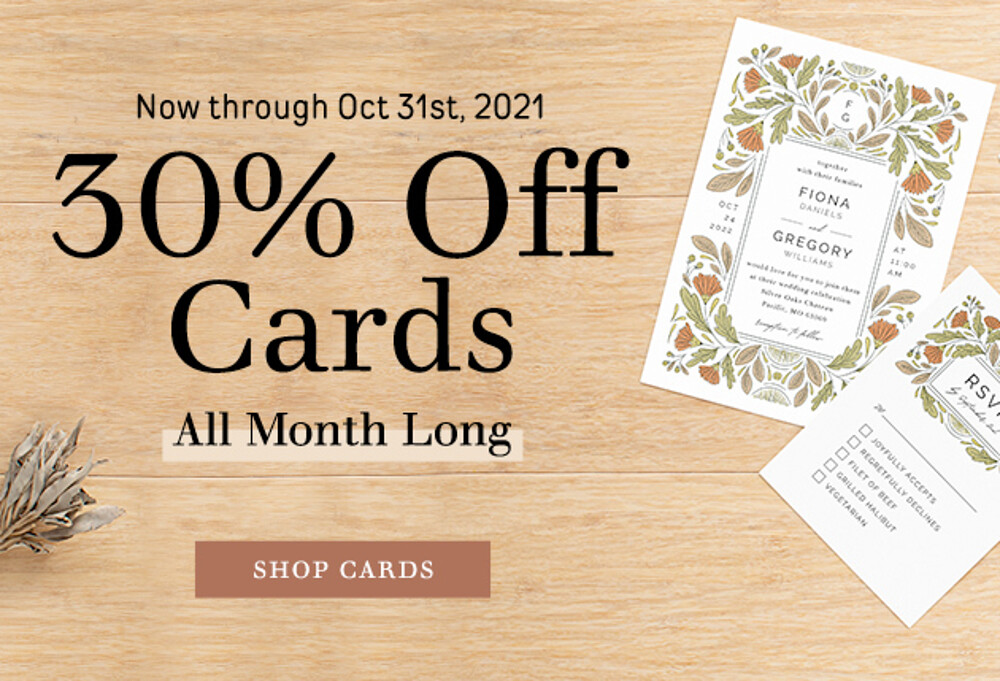 30% Off Cards - 10.21